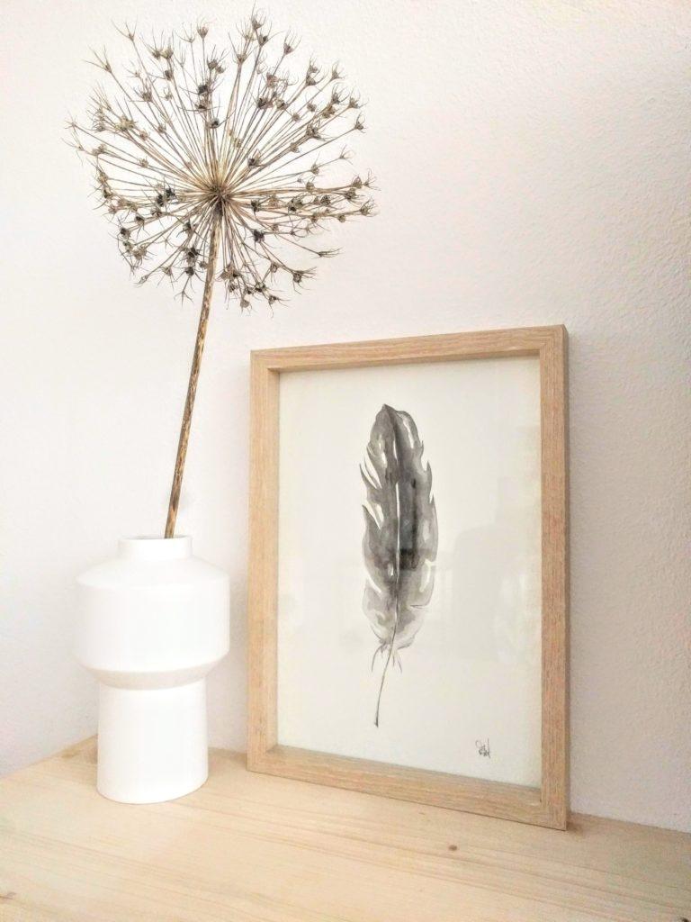 Aquarel 'Feather' 21x30  39,00